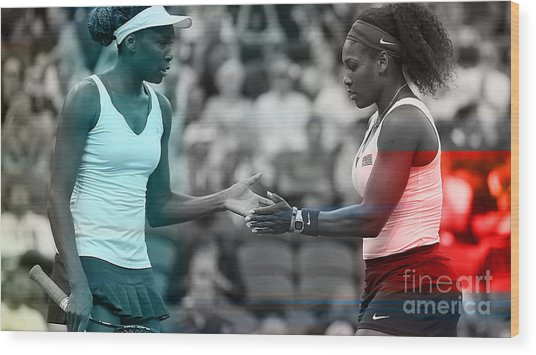 Venus Williams And Serena Williams Wood Print