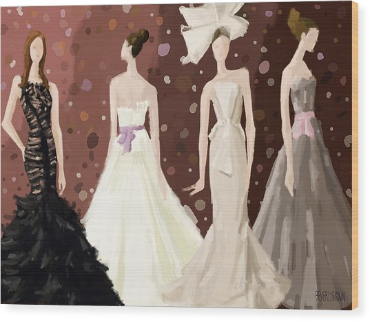 Vera Wang Bridal Dresses Fashion Illustration Art Print Wood Print