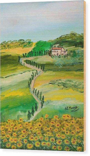 Verde Sentiero Wood Print