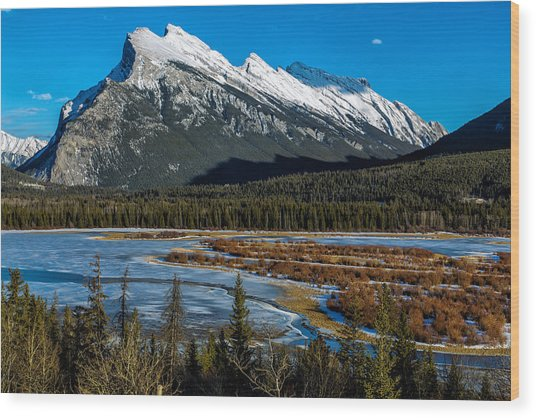 Vermillion Lakes And The Rundle Mountain Wood Print