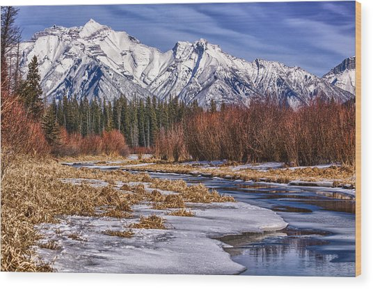 Vermillion Lakes In Winter Wood Print