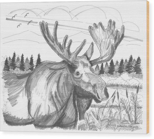 Vermont Bull Moose Wood Print