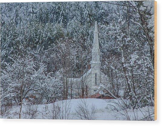 Vermont Church In Snow Wood Print