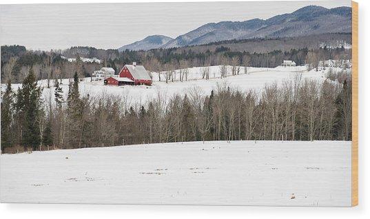 Vermont Farm In Winter Wood Print