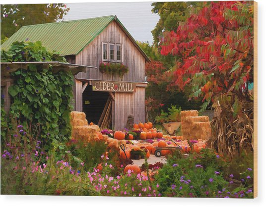 Vermont Pumpkins And Autumn Flowers Wood Print