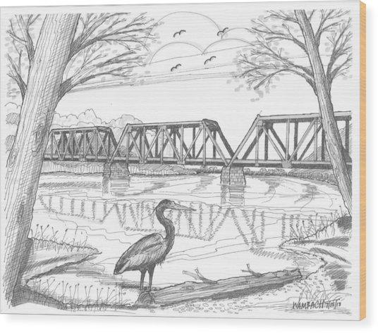 Vermont Railroad On Connecticut River Wood Print