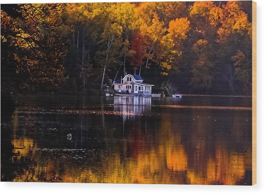 Vermont Route14 Pond Wood Print