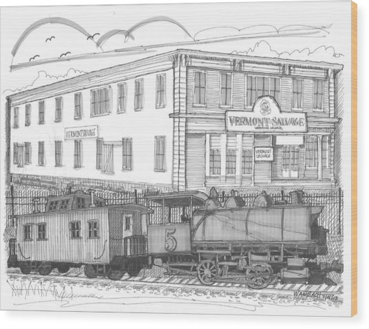 Vermont Salvage And Train Wood Print