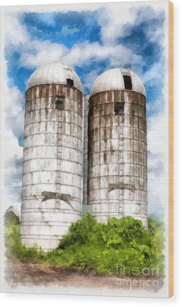 Vermont Silos Wood Print
