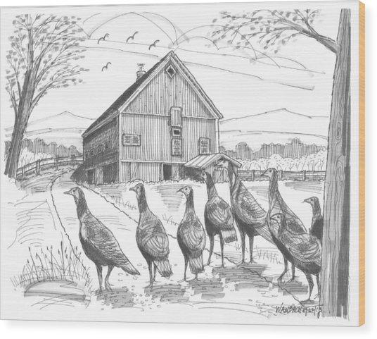 Vermont Wild Turkeys Wood Print