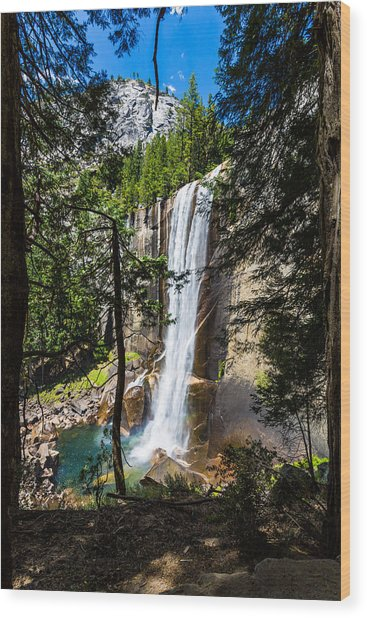 Vernal Falls Through The Trees Wood Print