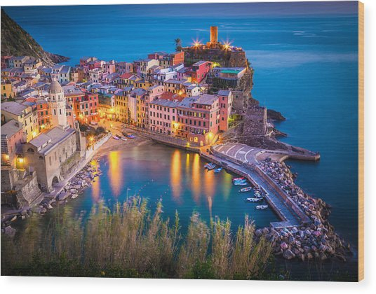 Vernazza Night Wood Print