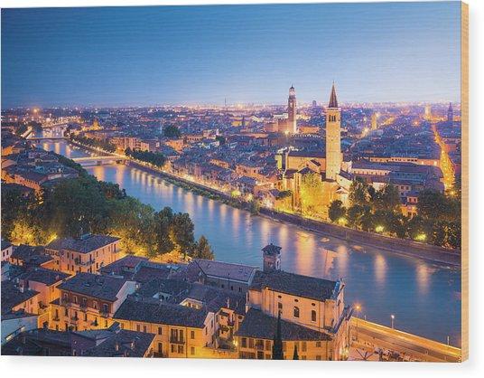 Verona At Night Wood Print by Spooh