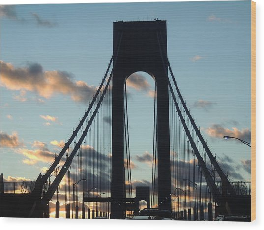 Verrazano Bridge Wood Print by Anastasia Konn