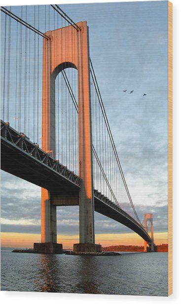Verrazano Bridge At Sunrise - Verrazano Narrows Wood Print