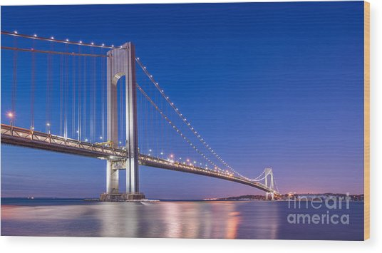 Verrazano Bridge Before Sunrise  Wood Print