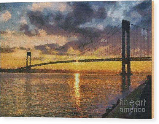 Verrazano Bridge During Sunset Wood Print