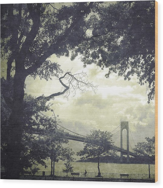 Verrazano Bridge From South Brooklyn Wood Print