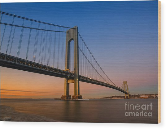 Verrazano Bridge Sunrise  Wood Print