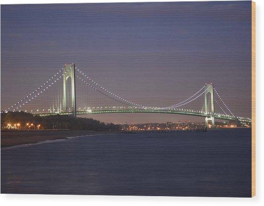 Verrazano Narrows Bridge At Night Wood Print