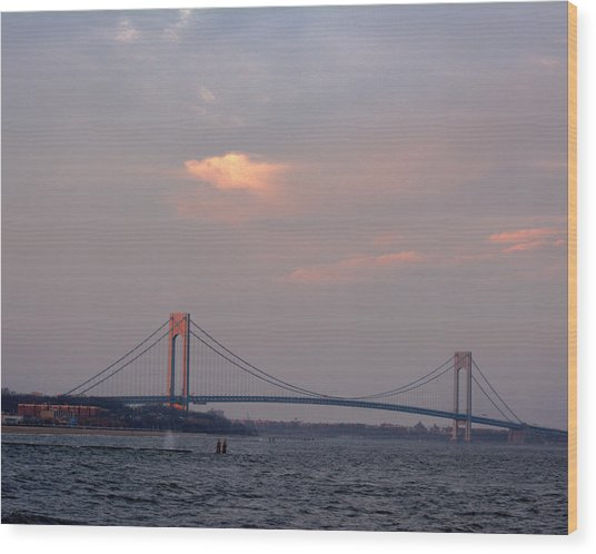 Verrazano Narrows Bridge At Sunset Wood Print