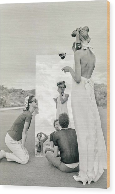 Veruschka On A Photo Shoot Wood Print