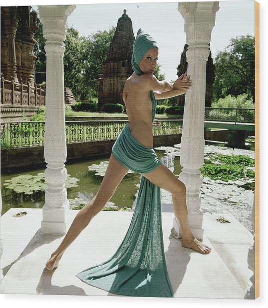 Veruschka Von Lehndorff Posing At The Gardens Wood Print