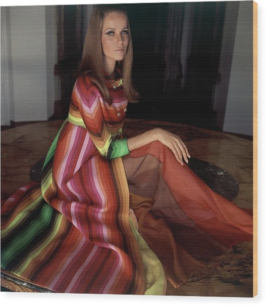 Veruschka Von Lehndorff Wearing A Striped Coat Wood Print