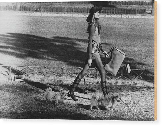 Veruschka Walking Dogs In Rome Wood Print