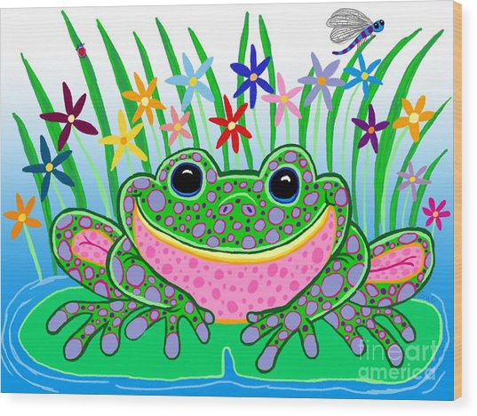 Very Happy Spotted Frog Wood Print