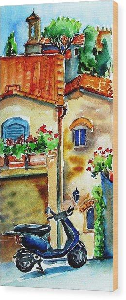 Vespa In Tuscany  Wood Print by Trudi Doyle