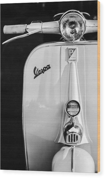 Vespa Scooter -0748bw Wood Print