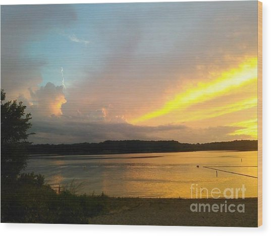 Vespers On Lithia Springs Beach At Sunset Wood Print