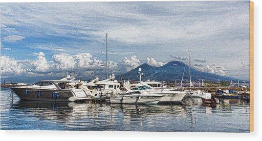 Vesuvius And Naples Harbor - Mediterranean Impressions Wood Print