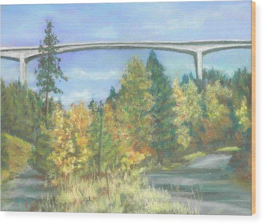 Veterans Memorial Bridge In Coeur D'alene Wood Print