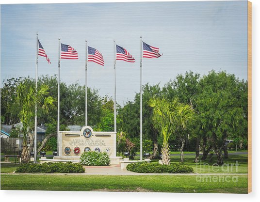 Veterans Memorial Laguna Vista Texas Wood Print