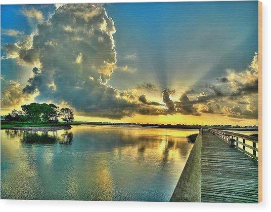 Veterans Pier Sunrise Wood Print
