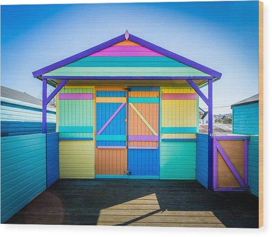 Vibrant Beach Hut Wood Print
