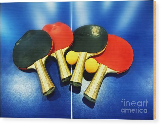 Vibrant Ping-pong Bats Table Tennis Paddles Rackets On Blue Wood Print