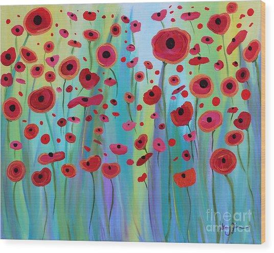 Vibrant Poppies Wood Print