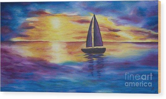 Glowing Sunset Sail Wood Print