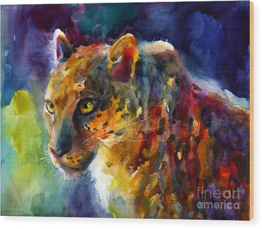 Vibrant Watercolor Leopard Wildlife Painting Wood Print