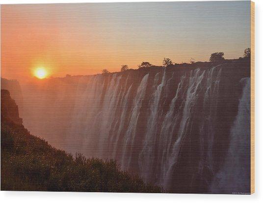 Victoria Falls At Sunset Wood Print