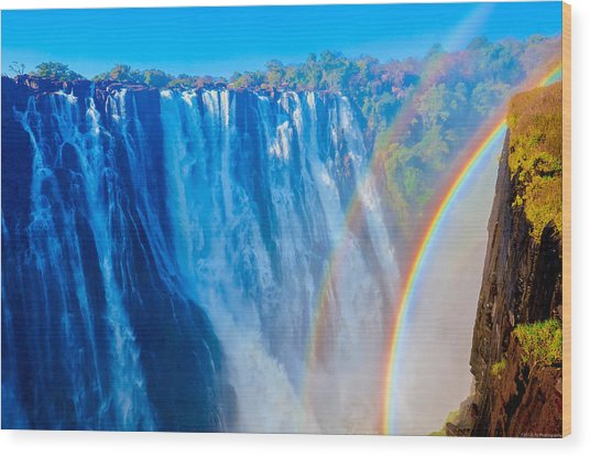 Victoria Falls Double Rainbow Wood Print