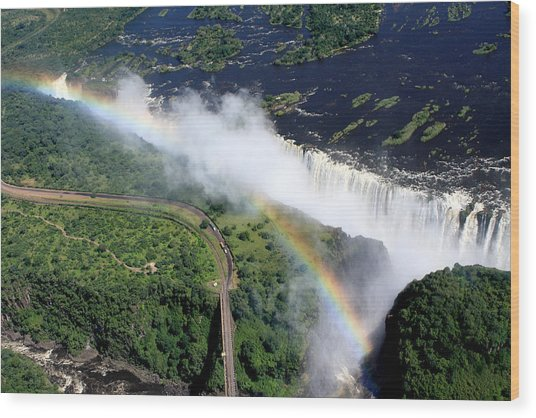 Rainbow Over Victoria Falls  Wood Print