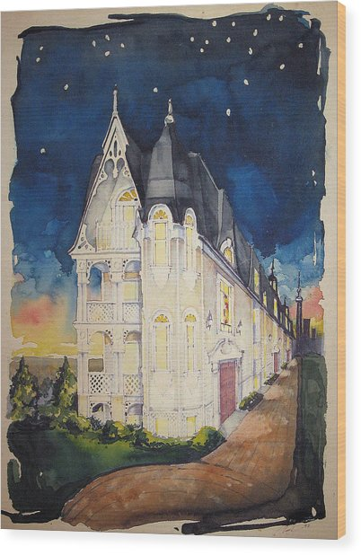 The Victorian Apartment Building By Rjfxx. Original Watercolor Painting. Wood Print