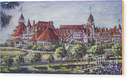Victorian Hotel Del Wood Print