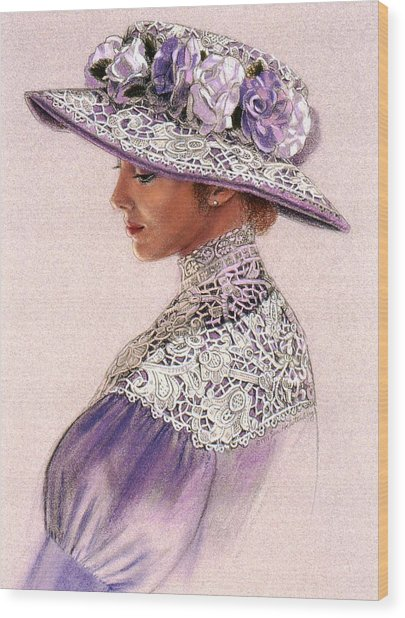 Victorian Lady In Lavender Lace Wood Print