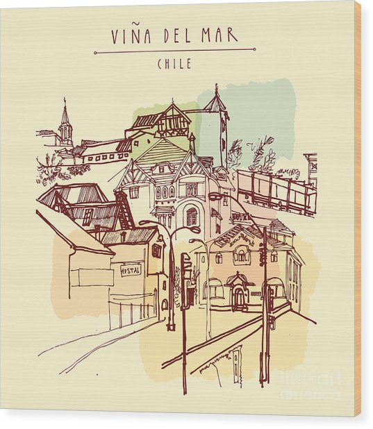 Victorian Style Architecture In Vina Wood Print