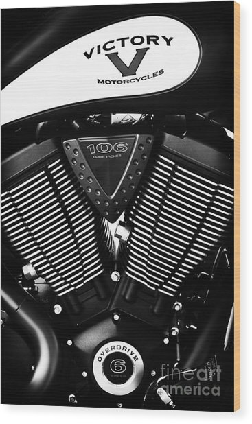 Victory Motorcycle Monochrome Wood Print
